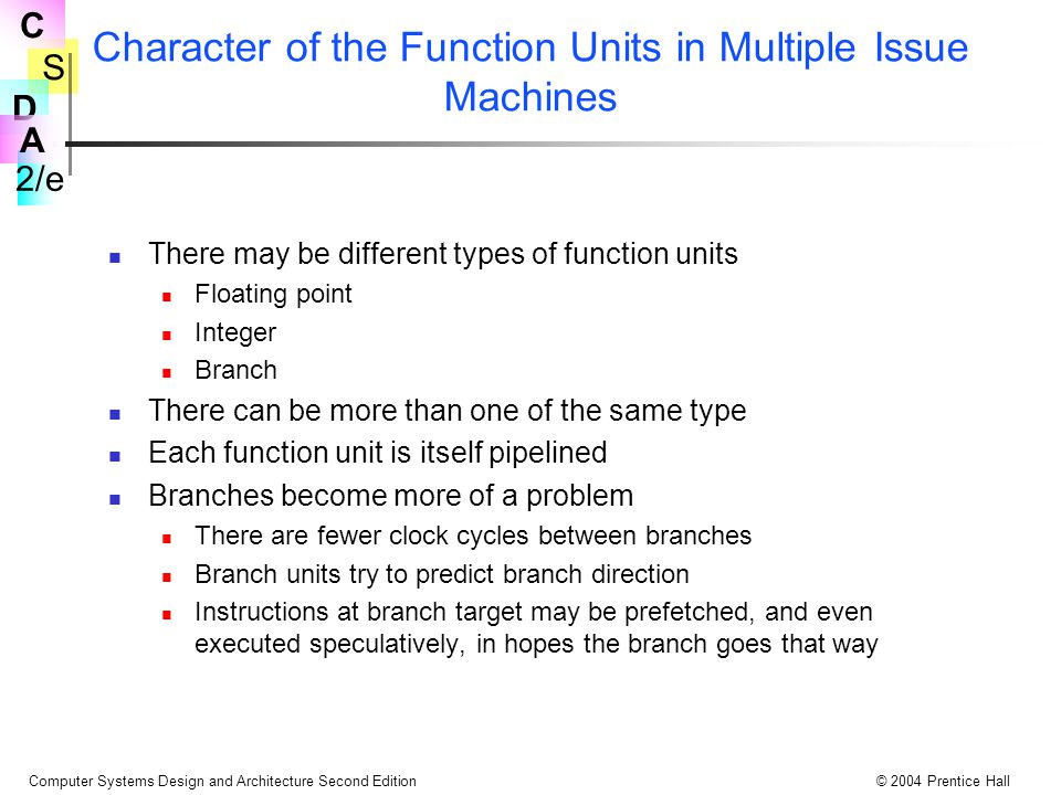 Character of the Function Units in Multiple Issue Machines