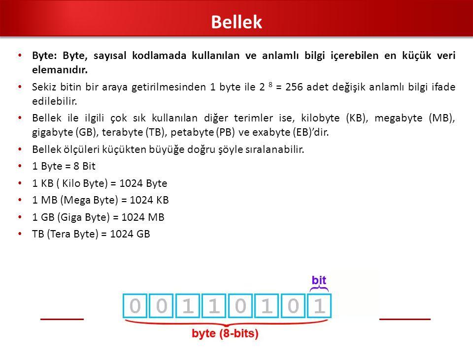 Bellek Byte: Byte, sayısal kodlamada kullanılan ve anlamlı bilgi içerebilen en küçük veri elemanıdır.