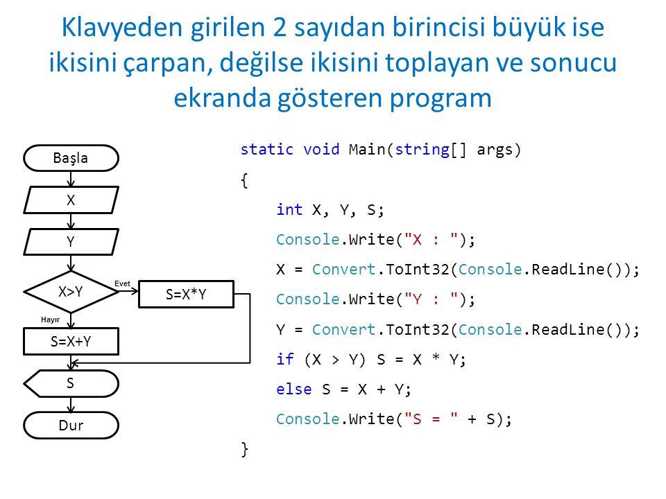 Klavyeden girilen 2 sayıdan birincisi büyük ise ikisini çarpan, değilse ikisini toplayan ve sonucu ekranda gösteren program