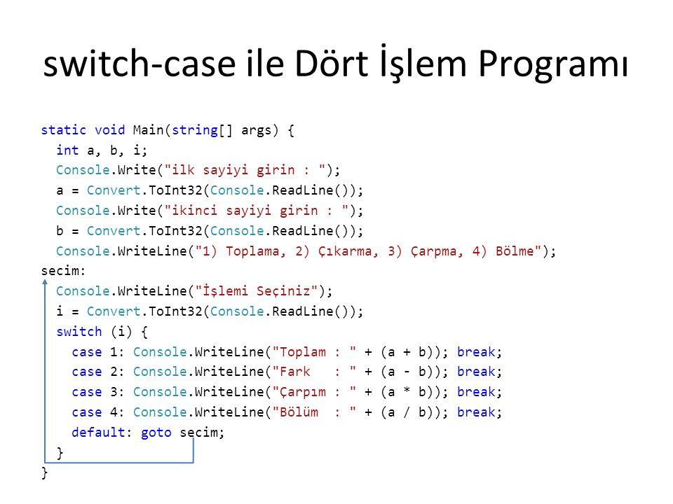 switch-case ile Dört İşlem Programı