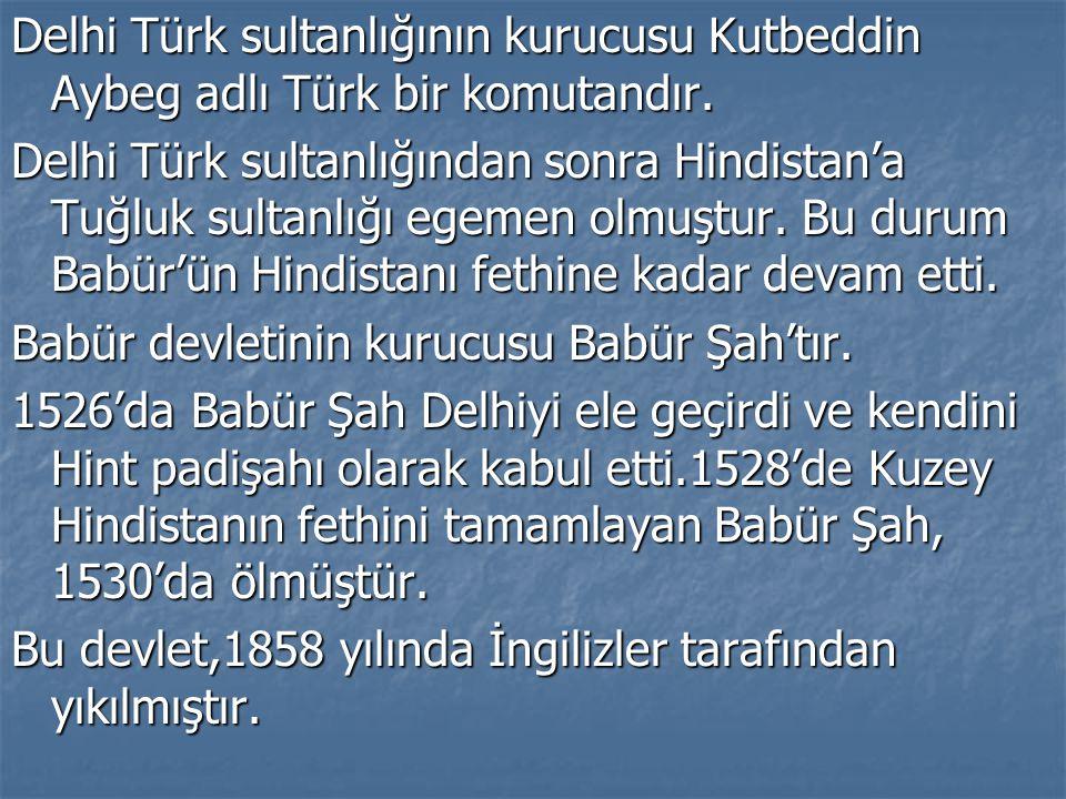 Delhi Türk sultanlığının kurucusu Kutbeddin Aybeg adlı Türk bir komutandır.