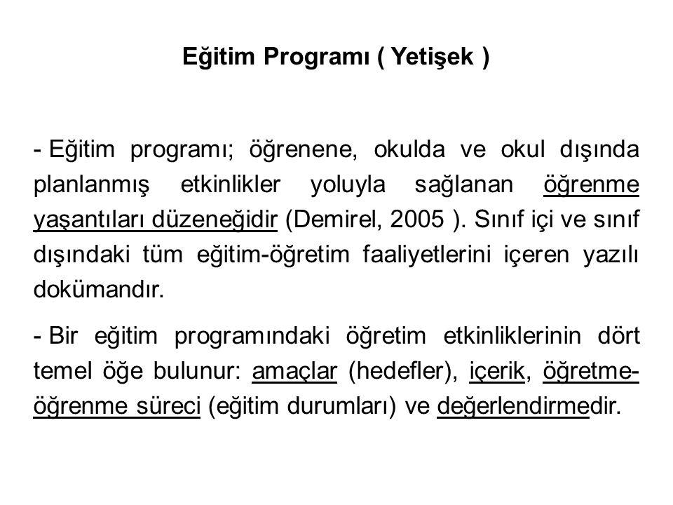 Eğitim Programı ( Yetişek )
