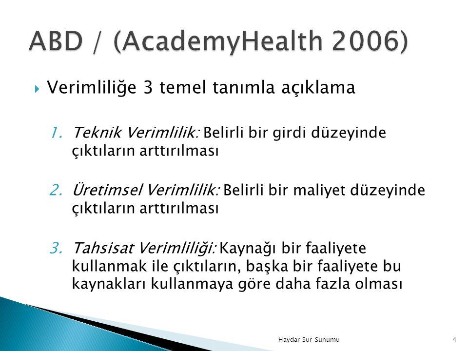 ABD / (AcademyHealth 2006) Verimliliğe 3 temel tanımla açıklama