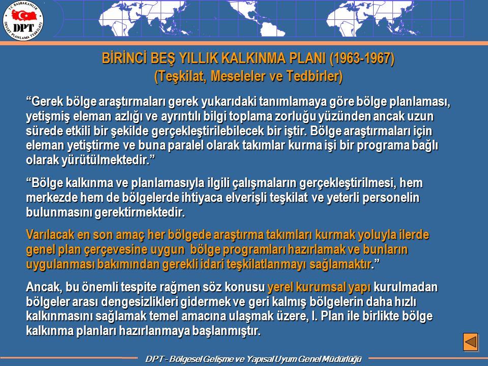 BİRİNCİ BEŞ YILLIK KALKINMA PLANI (1963-1967) (Teşkilat, Meseleler ve Tedbirler)