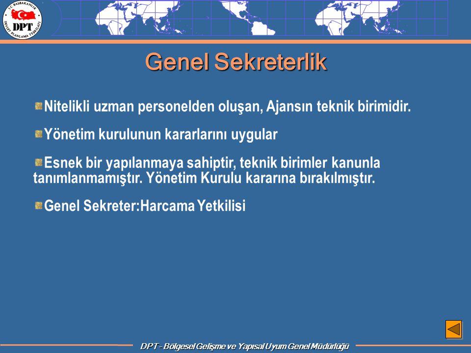 Genel Sekreterlik Nitelikli uzman personelden oluşan, Ajansın teknik birimidir. Yönetim kurulunun kararlarını uygular.