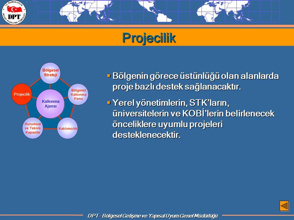 Projecilik Bölgenin görece üstünlüğü olan alanlarda proje bazlı destek sağlanacaktır.