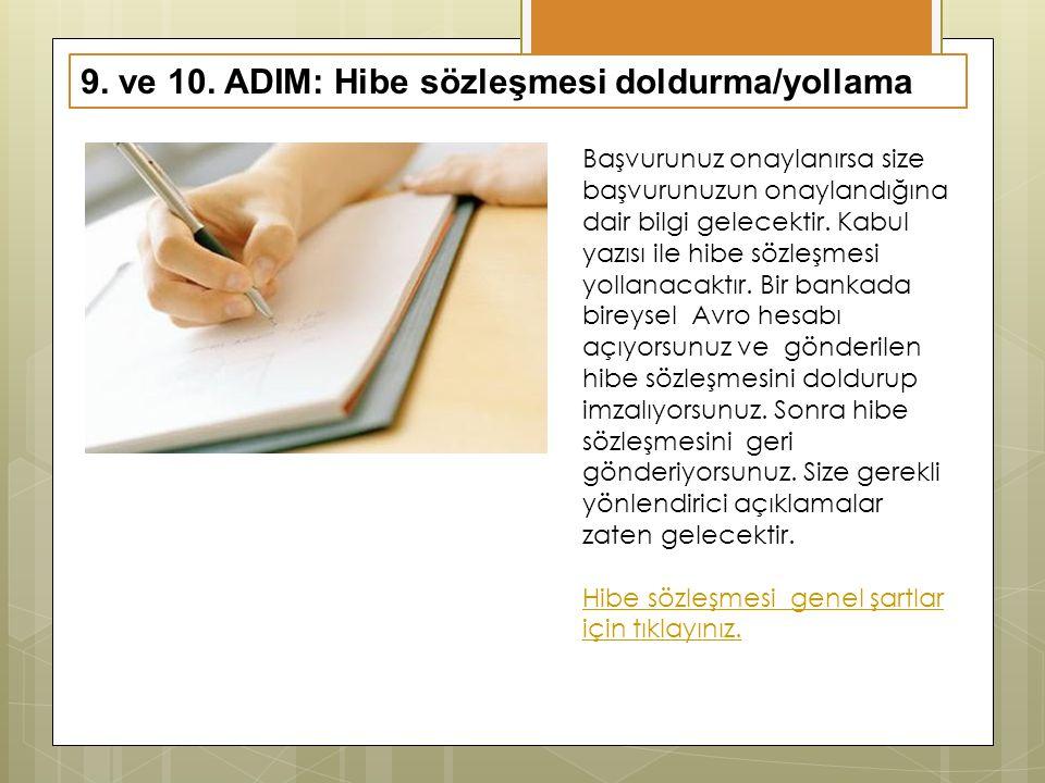 9. ve 10. ADIM: Hibe sözleşmesi doldurma/yollama