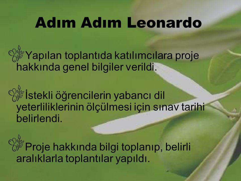 Adım Adım Leonardo Yapılan toplantıda katılımcılara proje hakkında genel bilgiler verildi.