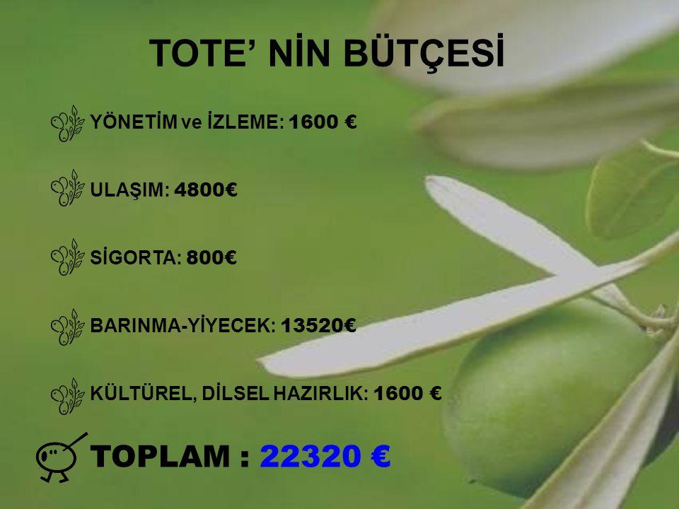 TOTE' NİN BÜTÇESİ TOPLAM : 22320 € YÖNETİM ve İZLEME: 1600 €