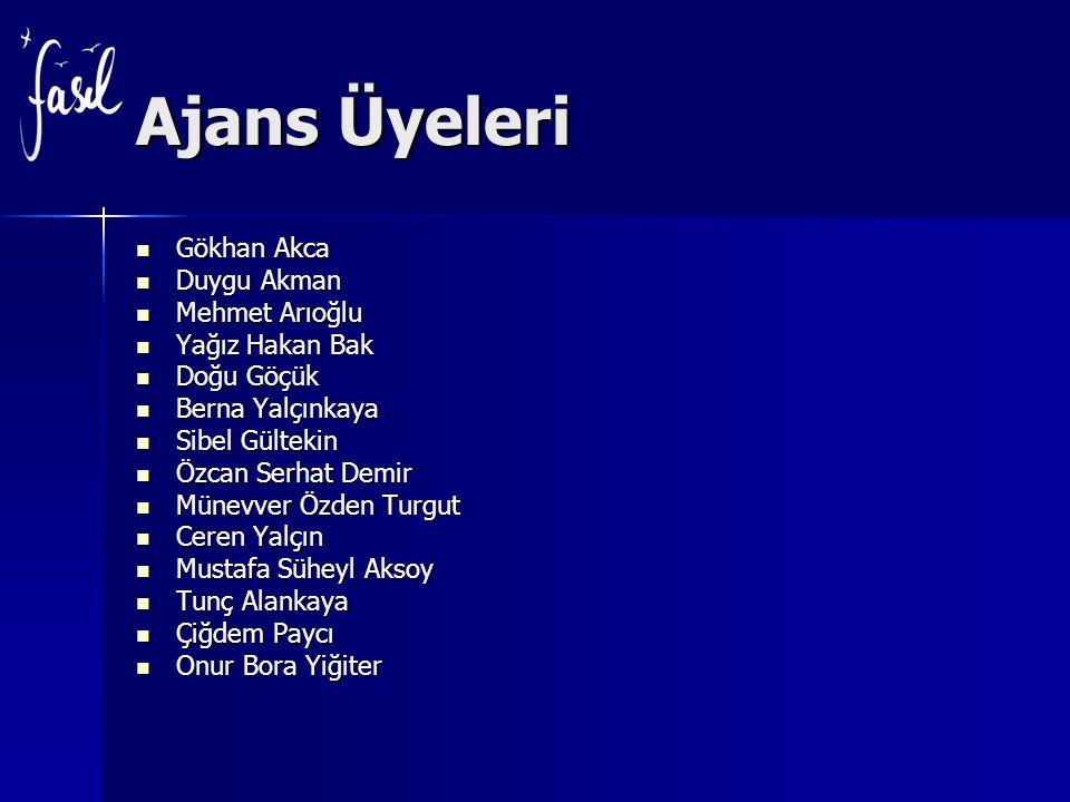 Ajans Üyeleri Gökhan Akca Duygu Akman Mehmet Arıoğlu Yağız Hakan Bak