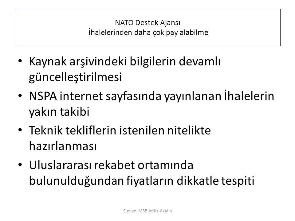 NATO Destek Ajansı İhalelerinden daha çok pay alabilme