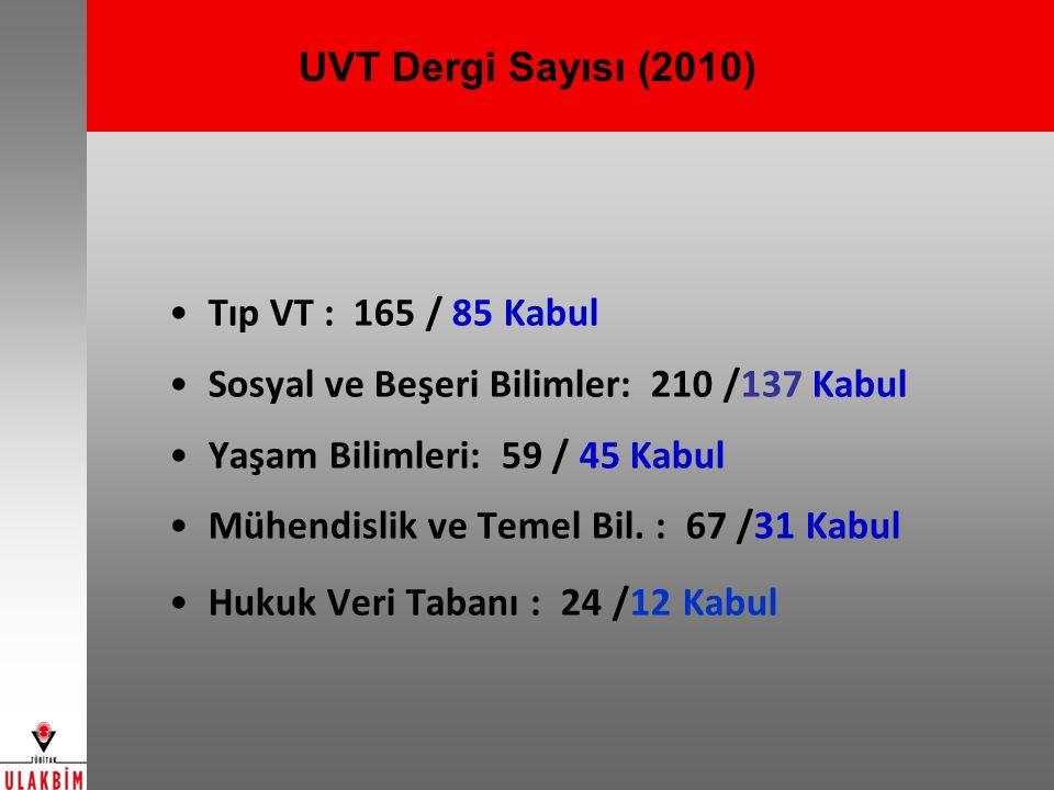 UVT Dergi Sayısı (2010) Tıp VT : 165 / 85 Kabul. Sosyal ve Beşeri Bilimler: 210 /137 Kabul. Yaşam Bilimleri: 59 / 45 Kabul.