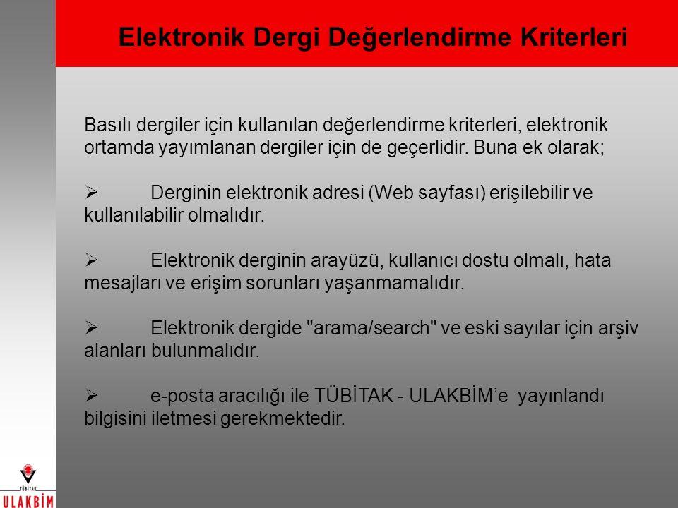 Elektronik Dergi Değerlendirme Kriterleri