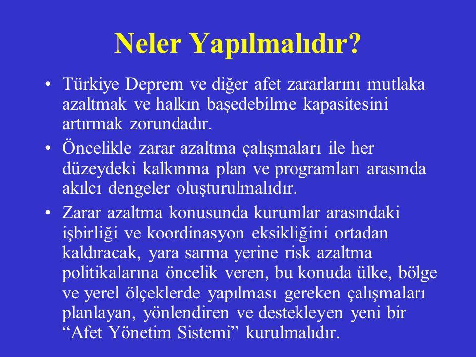 Neler Yapılmalıdır Türkiye Deprem ve diğer afet zararlarını mutlaka azaltmak ve halkın başedebilme kapasitesini artırmak zorundadır.