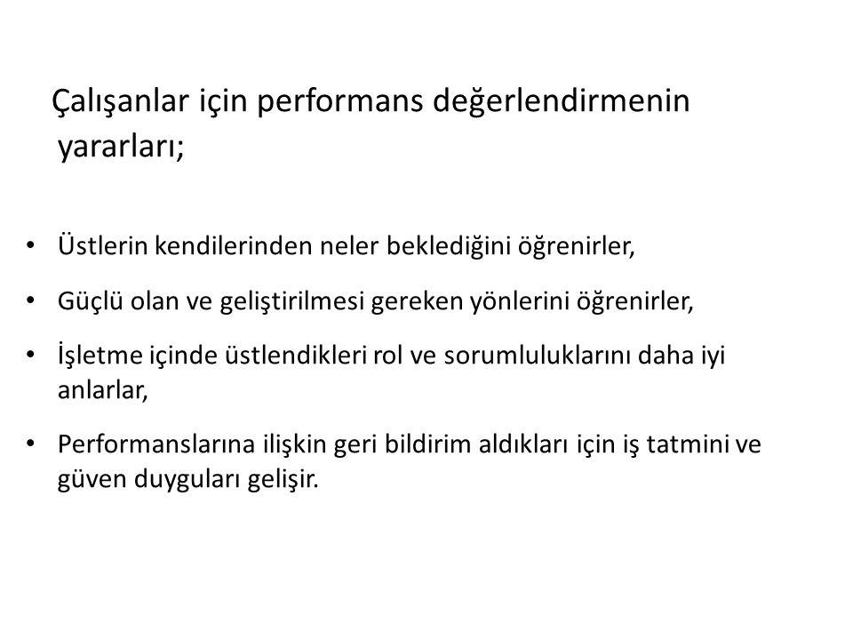 Çalışanlar için performans değerlendirmenin yararları;