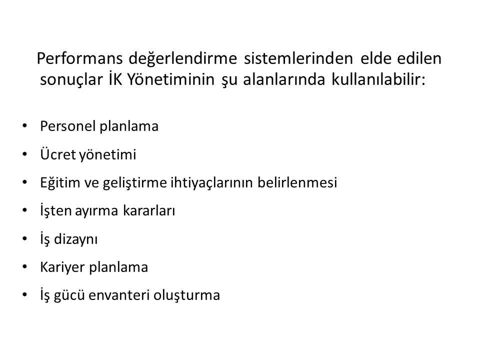 Performans değerlendirme sistemlerinden elde edilen sonuçlar İK Yönetiminin şu alanlarında kullanılabilir: