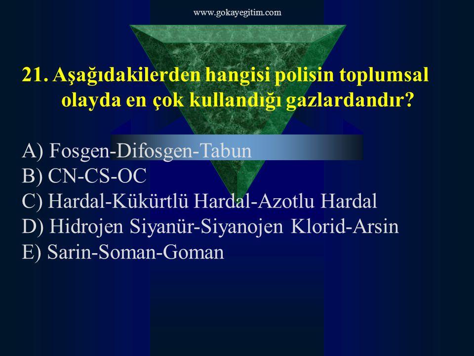 A) Fosgen-Difosgen-Tabun B) CN-CS-OC
