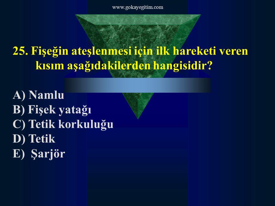 www.gokayegitim.com 25. Fişeğin ateşlenmesi için ilk hareketi veren kısım aşağıdakilerden hangisidir