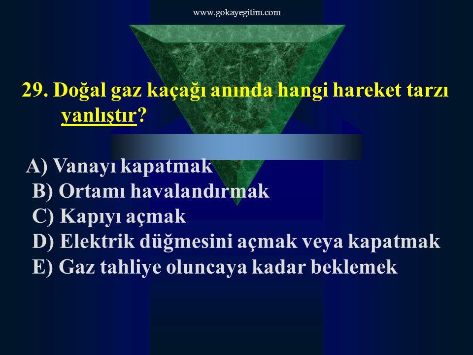 29. Doğal gaz kaçağı anında hangi hareket tarzı yanlıştır