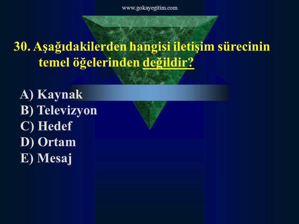 www.gokayegitim.com 30. Aşağıdakilerden hangisi iletişim sürecinin temel öğelerinden değildir A) Kaynak.