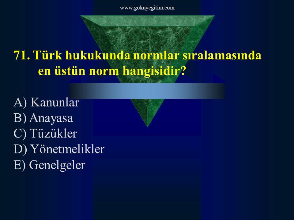 71. Türk hukukunda normlar sıralamasında en üstün norm hangisidir