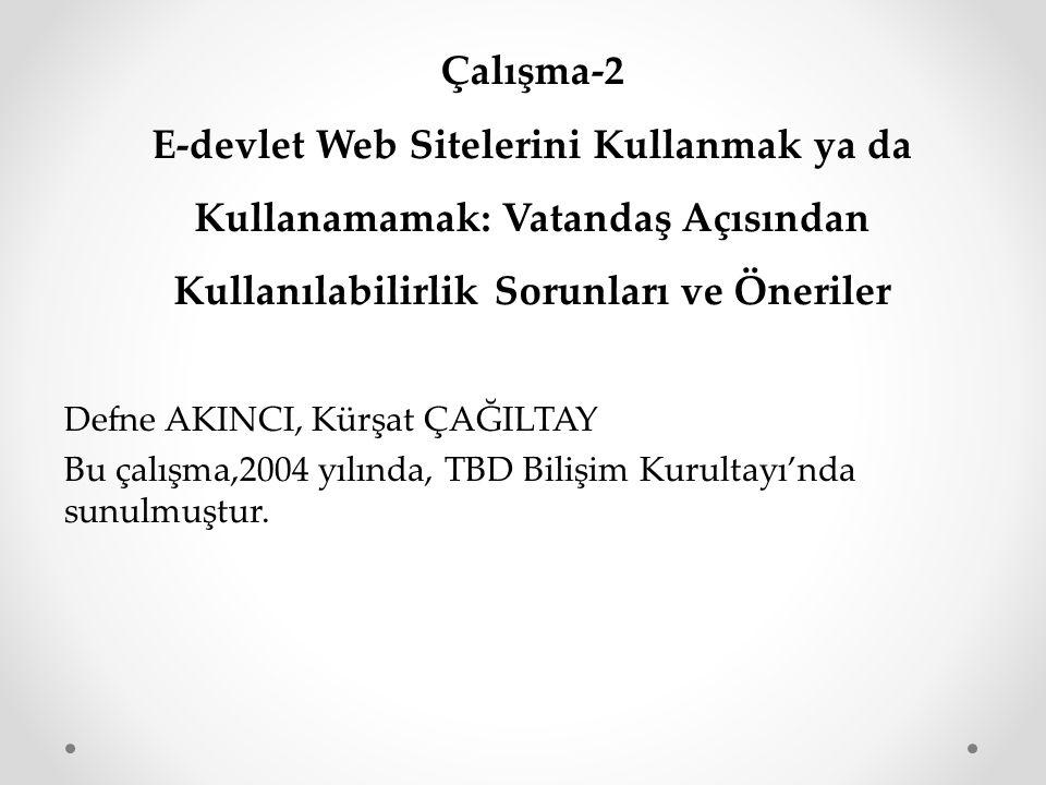 Çalışma-2 E-devlet Web Sitelerini Kullanmak ya da Kullanamamak: Vatandaş Açısından Kullanılabilirlik Sorunları ve Öneriler