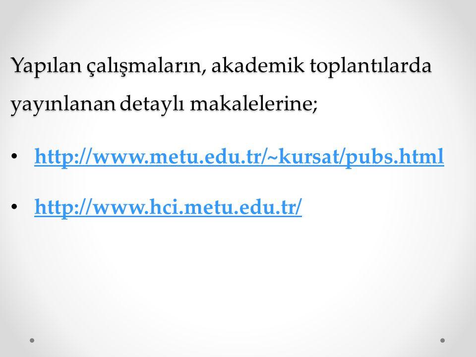 Yapılan çalışmaların, akademik toplantılarda yayınlanan detaylı makalelerine;