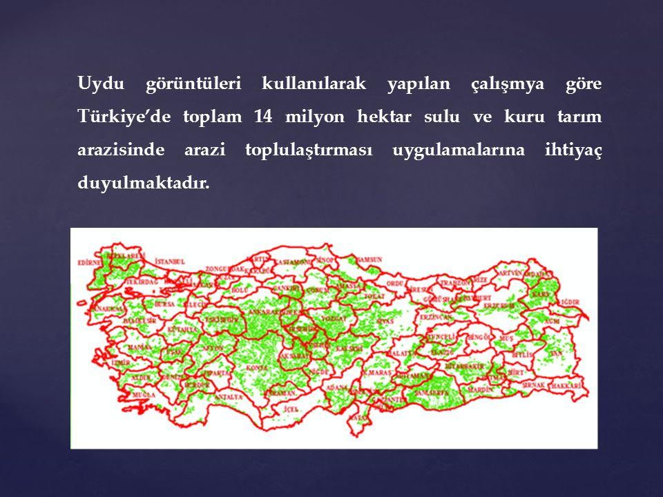 Uydu görüntüleri kullanılarak yapılan çalışmya göre Türkiye'de toplam 14 milyon hektar sulu ve kuru tarım arazisinde arazi toplulaştırması uygulamalarına ihtiyaç duyulmaktadır.