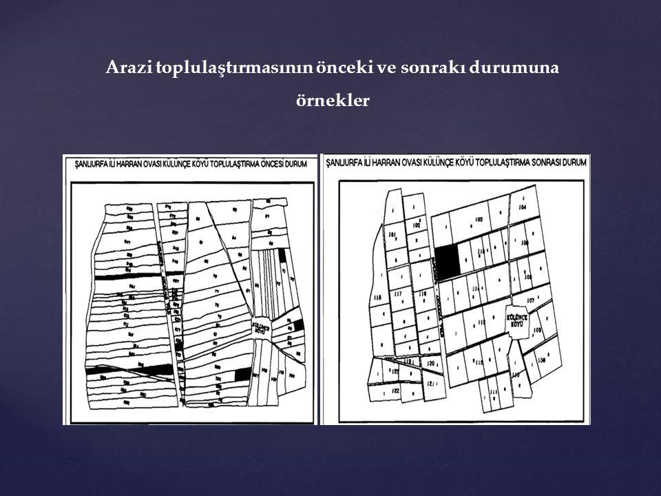 Arazi toplulaştırmasının önceki ve sonrakı durumuna örnekler