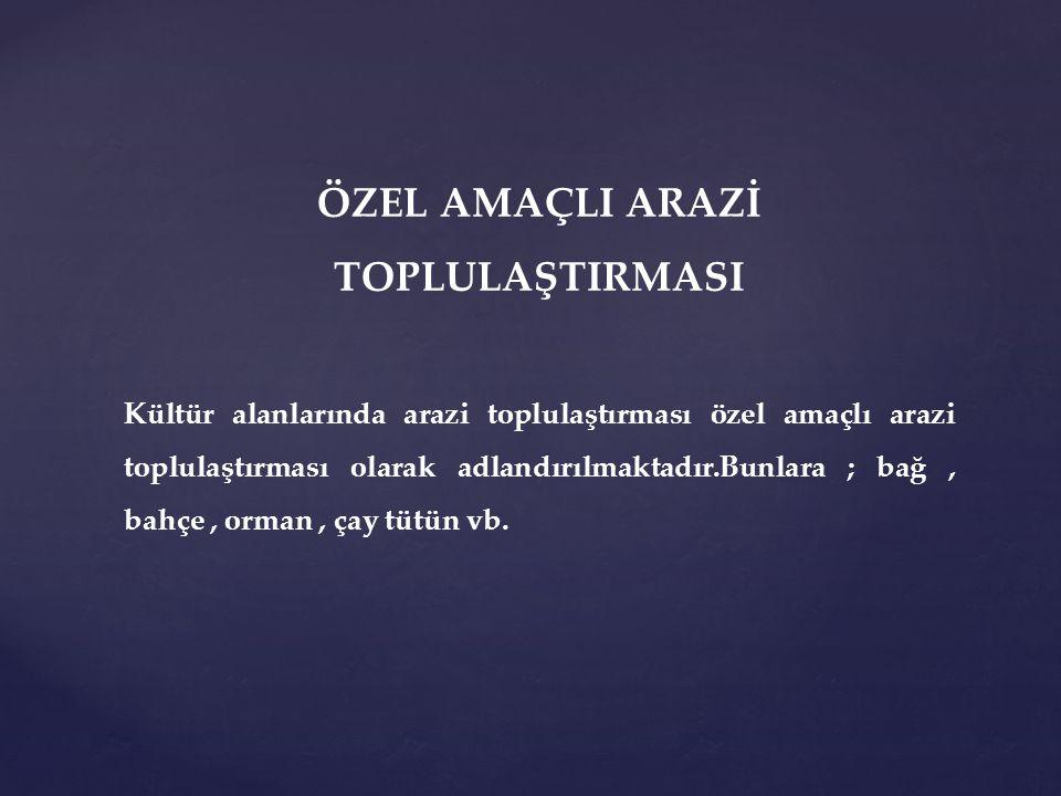ÖZEL AMAÇLI ARAZİ TOPLULAŞTIRMASI
