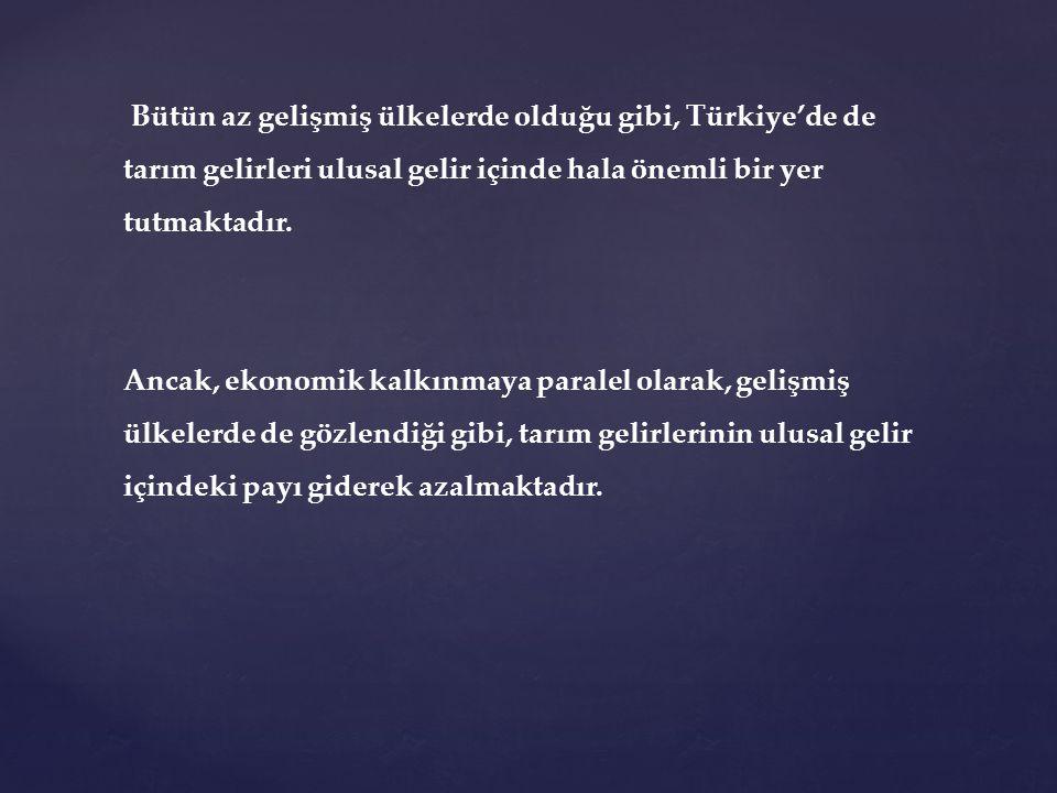 Bütün az gelişmiş ülkelerde olduğu gibi, Türkiye'de de tarım gelirleri ulusal gelir içinde hala önemli bir yer tutmaktadır.