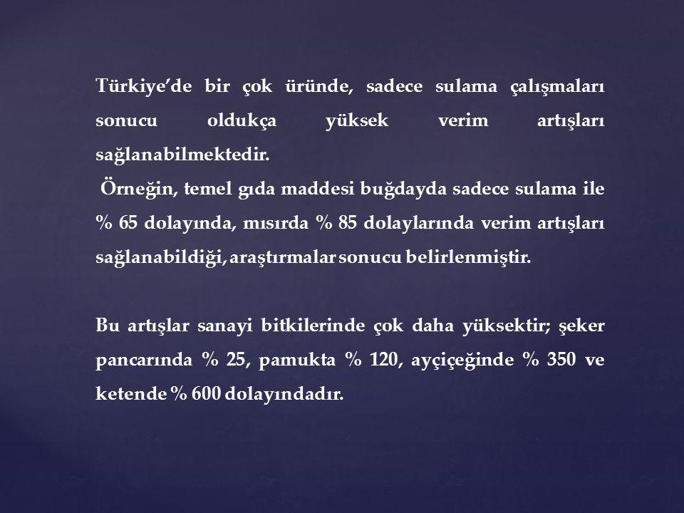 Türkiye'de bir çok üründe, sadece sulama çalışmaları sonucu oldukça yüksek verim artışları sağlanabilmektedir.