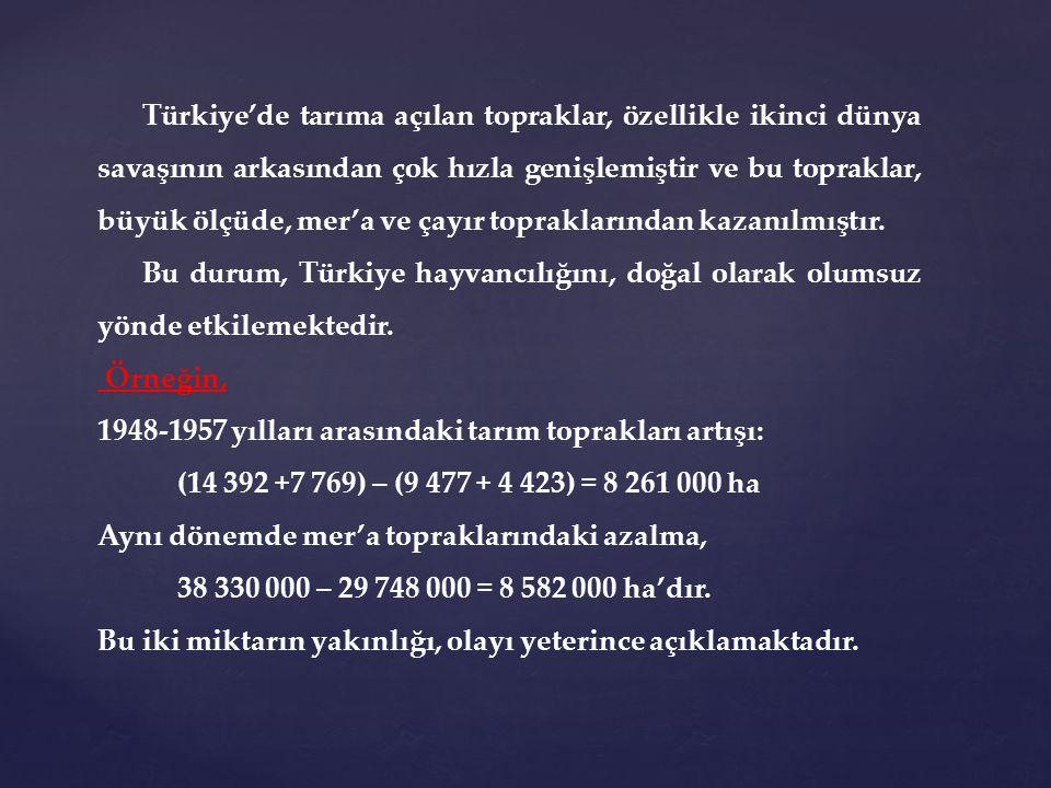 Türkiye'de tarıma açılan topraklar, özellikle ikinci dünya savaşının arkasından çok hızla genişlemiştir ve bu topraklar, büyük ölçüde, mer'a ve çayır topraklarından kazanılmıştır.
