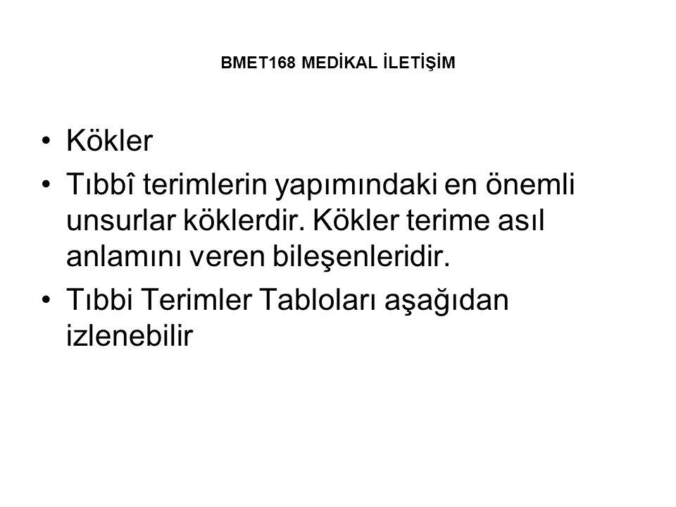 Tıbbi Terimler Tabloları aşağıdan izlenebilir