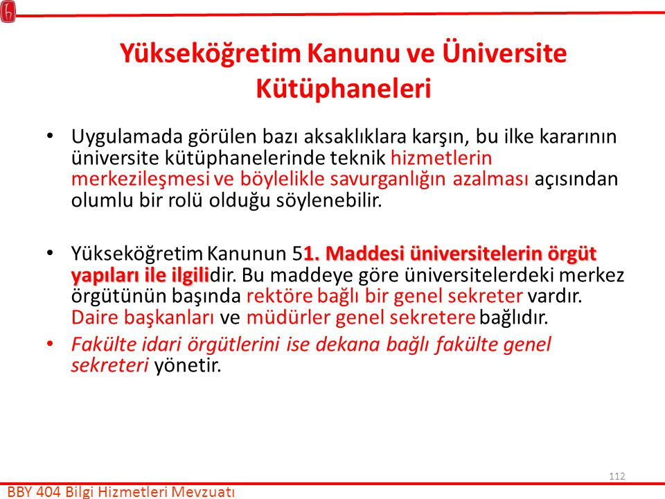 Yükseköğretim Kanunu ve Üniversite Kütüphaneleri