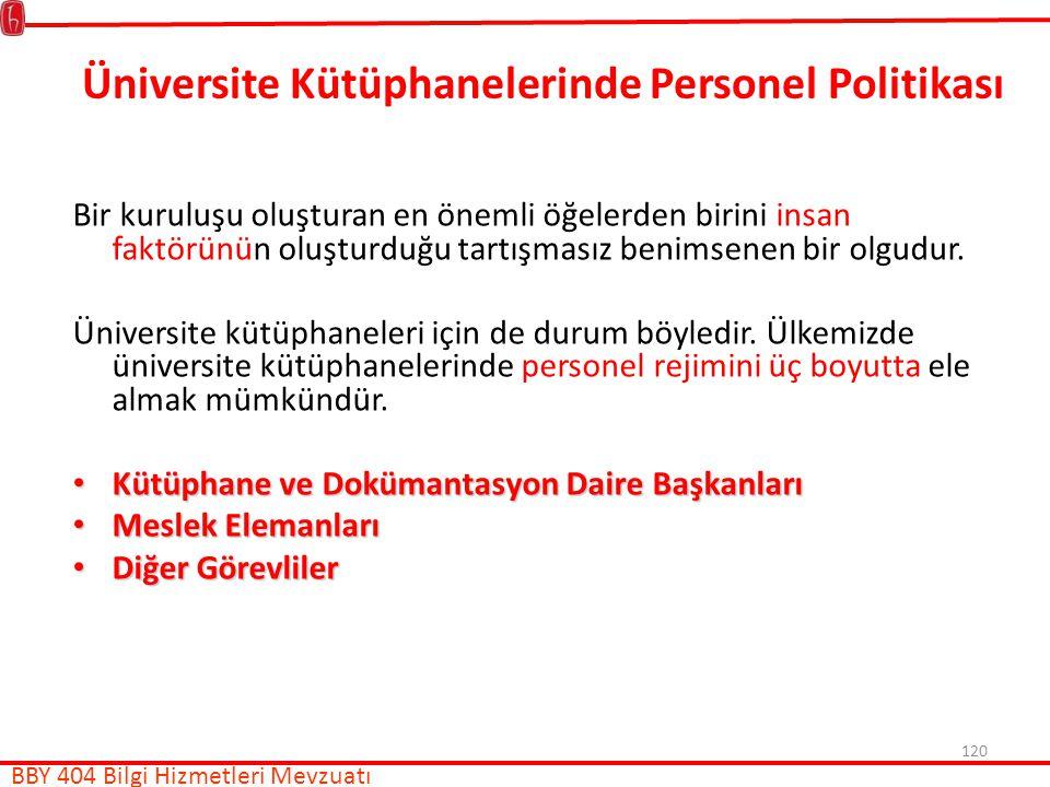 Üniversite Kütüphanelerinde Personel Politikası