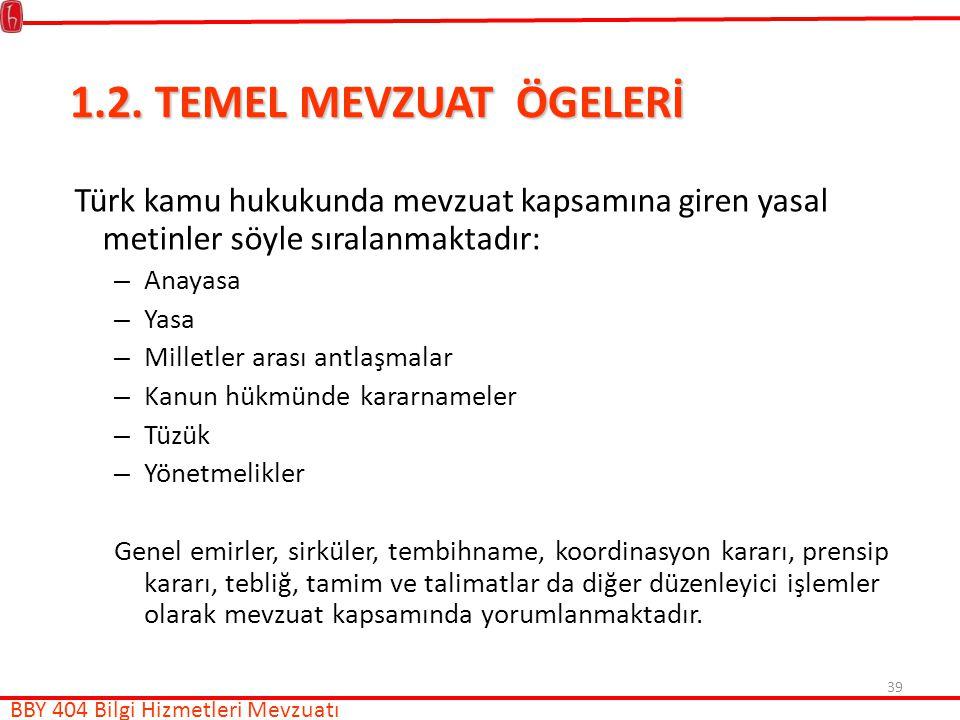 1.2. TEMEL MEVZUAT ÖGELERİ Türk kamu hukukunda mevzuat kapsamına giren yasal metinler söyle sıralanmaktadır: