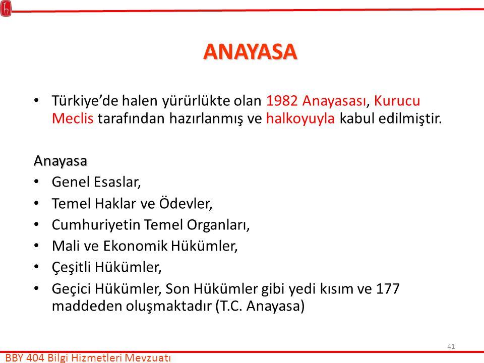 ANAYASA Türkiye'de halen yürürlükte olan 1982 Anayasası, Kurucu Meclis tarafından hazırlanmış ve halkoyuyla kabul edilmiştir.