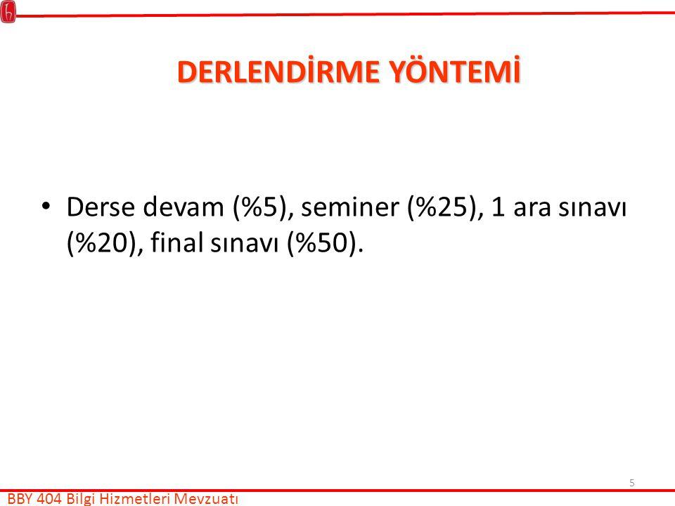 DERLENDİRME YÖNTEMİ Derse devam (%5), seminer (%25), 1 ara sınavı (%20), final sınavı (%50).
