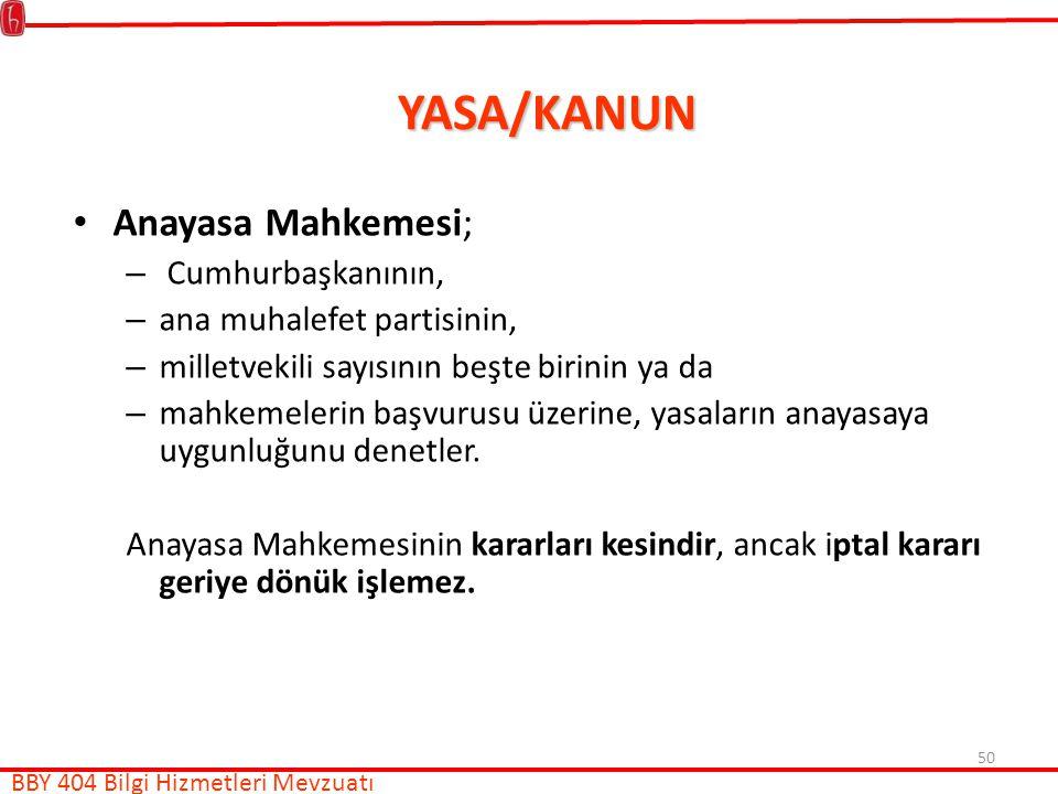 YASA/KANUN Anayasa Mahkemesi; Cumhurbaşkanının,