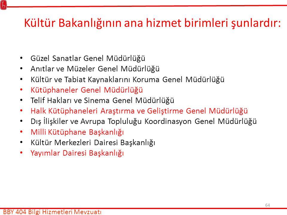 Kültür Bakanlığının ana hizmet birimleri şunlardır: