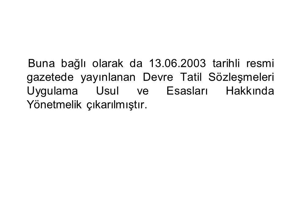 Buna bağlı olarak da 13.06.2003 tarihli resmi gazetede yayınlanan Devre Tatil Sözleşmeleri Uygulama Usul ve Esasları Hakkında Yönetmelik çıkarılmıştır.