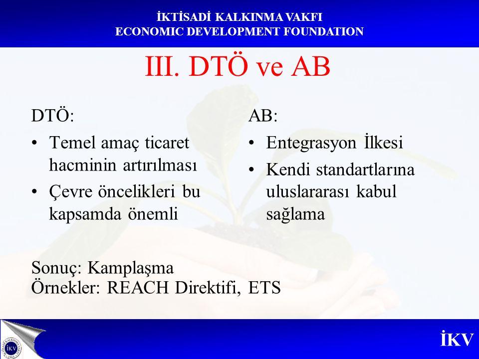 III. DTÖ ve AB DTÖ: Temel amaç ticaret hacminin artırılması