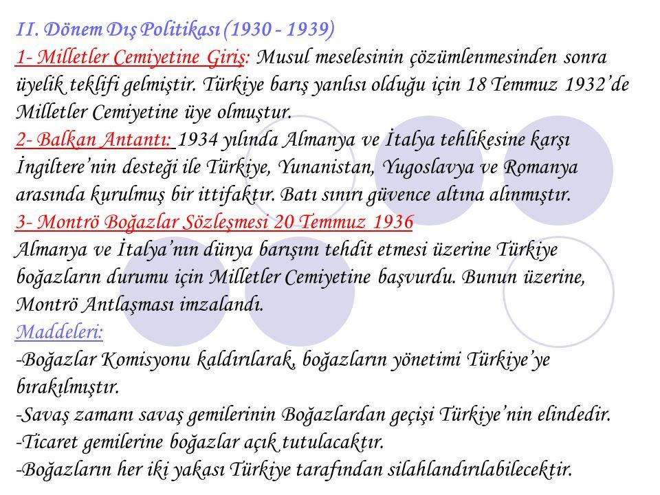 II. Dönem Dış Politikası (1930 - 1939)