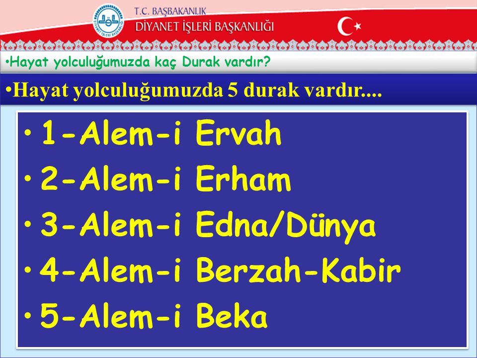 1-Alem-i Ervah 2-Alem-i Erham 3-Alem-i Edna/Dünya