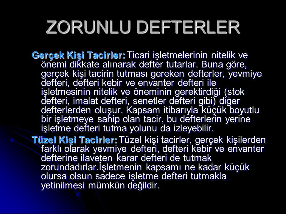 ZORUNLU DEFTERLER