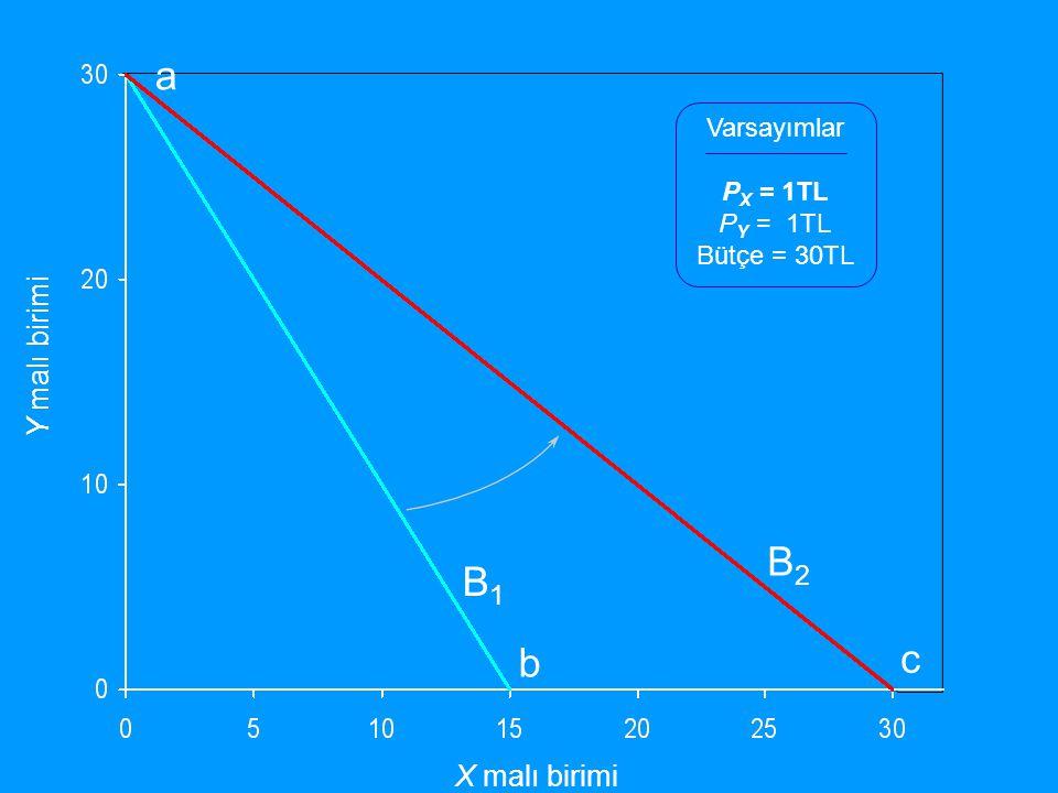 a B2 B1 c b Y malı birimi X malı birimi Varsayımlar PX = 1TL PY = 1TL