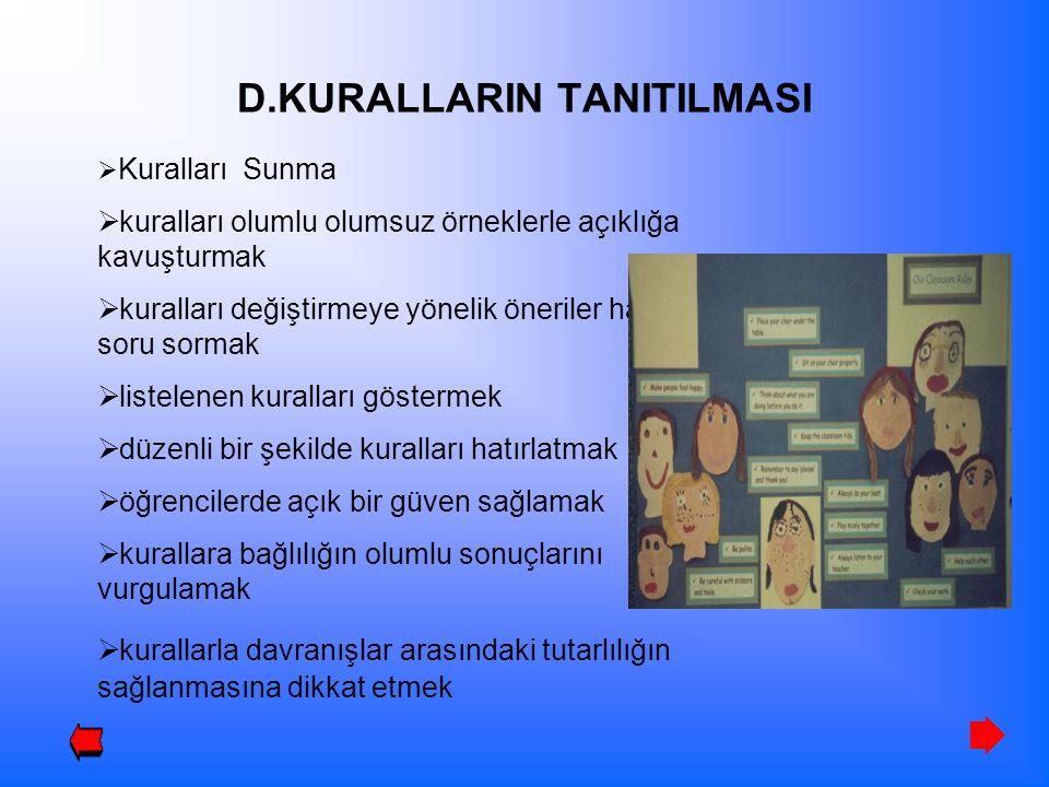 D.KURALLARIN TANITILMASI