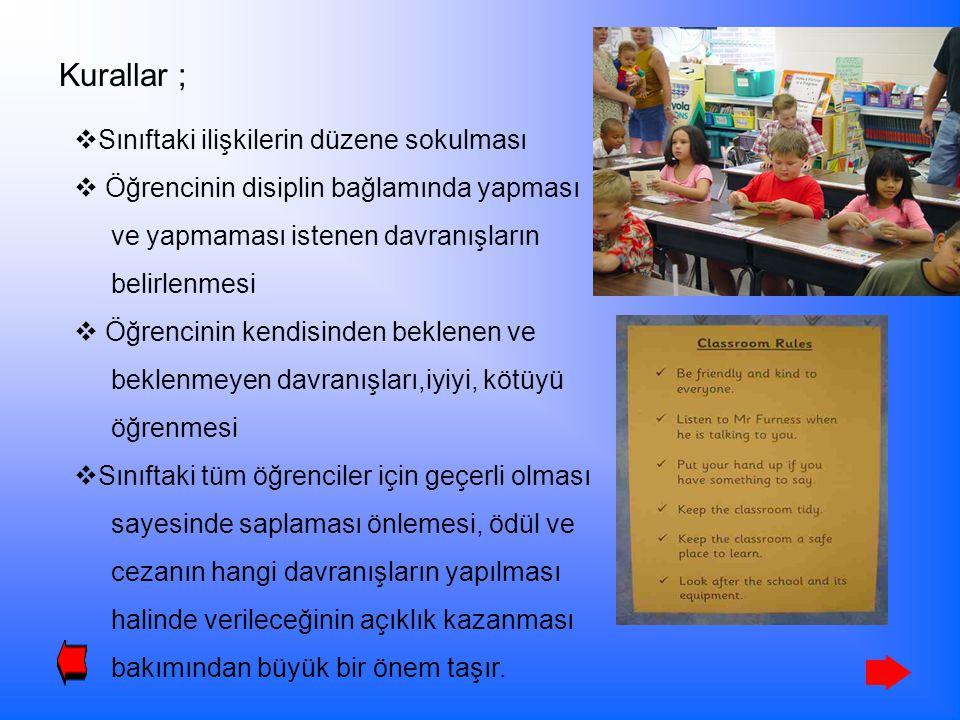 Kurallar ; Sınıftaki ilişkilerin düzene sokulması