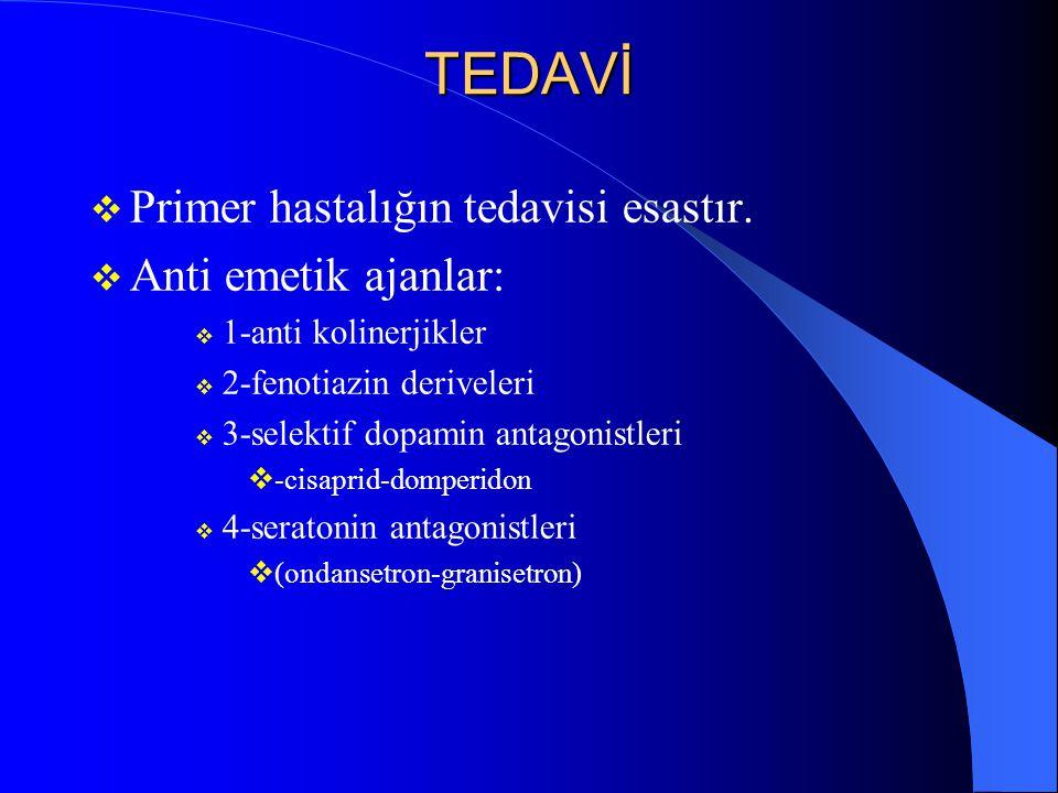 TEDAVİ Primer hastalığın tedavisi esastır. Anti emetik ajanlar: